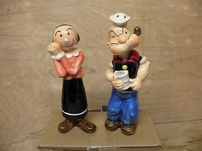 Vintage Popeye And Olive Oil Salt And Pepper Shakers Htf