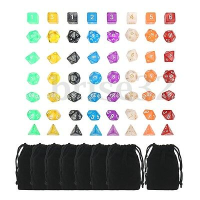 56Pcs 8 Sets With Bag Polyhedral Dice For DND RPG MTG Board Game Pathfinder New
