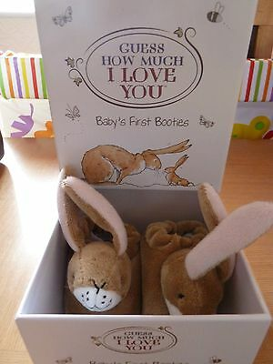 'Guess How Much I Love You' Baby's First Booties With Rattles *Brand New In Box*