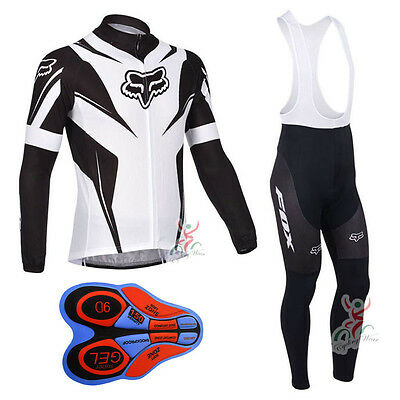 9D pad New Bike racing clothing long sleeve Men's team cycling jersey bib pants