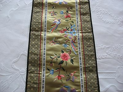 vintage chinese embroidered  silk  wall hanging panel in very good condition