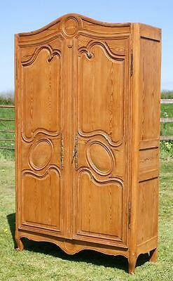 MID 19th CENTURY ANTIQUE FRENCH SOLID PINE ARMOIRE  CUPBOARD