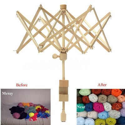 "Knitting Umbrella 24"" Wooden Swift Yarn Winder Holder for Hanks Skeins Wool Ball"