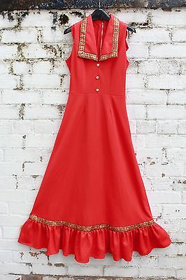 Vintage Red embroidered gold floral 70s peak collar folk boho gypsy maxi dress S