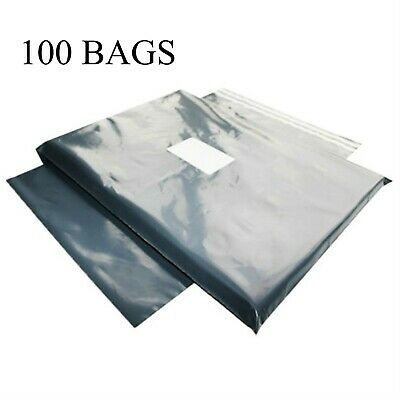 "100 BAGS - 10"" x 14"" STRONG 55MU MAILING POSTAGE POSTAL QUALITY SELF SEAL GREY"