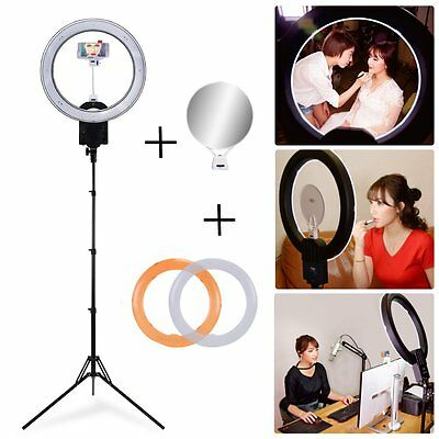 CN-R640 LED 5600K Dimmable Ring Light with 185cm Stand Kit fr Photo Video Selfie