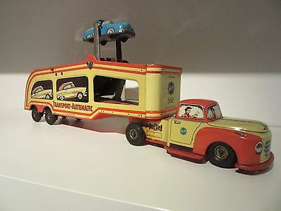 GESCHA  Clockwork Tin plate Litho Automobile Car Transporter 1950's West Germany