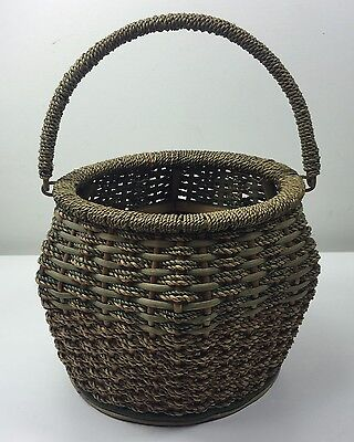 Vintage Unusual Round Woven Swing Handle Basket - Great Design Quality & Cond.