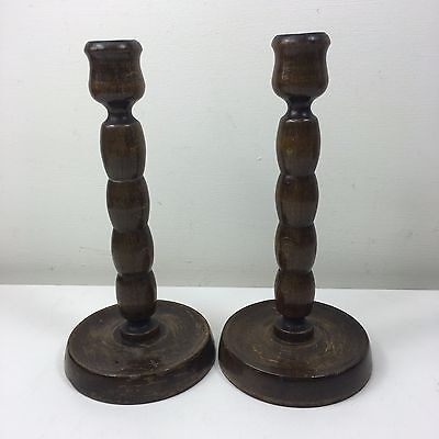 "Pair Vintage Bobbin Turned Wooden Candlesticks - 8"" High"
