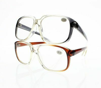 b9ac84bad45 New Large Oversize Gradual Change Frame Resin Lens Reading Glasses +1.0 ~ + 4.0