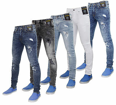 Enzo Mens Super Stretch Skinny Fit Ripped & Repair Denim Jeans Trousers Pants