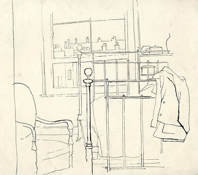 Barbara Dorf - Mid 20th Century Pen and Ink Drawing, Bedroom Interior