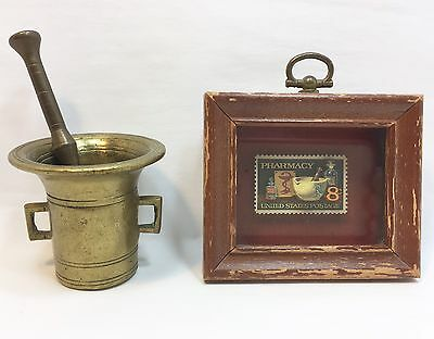 Vintage Brass Mortar and Pestle Apothecary - Pharmacy Postage Stamp Wall Decor