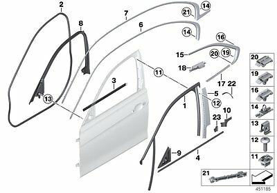 BMW 3' F30 F31 F80 M3 Door Guide Rubber Seal