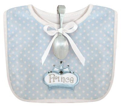 Stephan Baby Infant Boy Polka Dot Bib and Silver Plated Bent-Handled Spoon Gift
