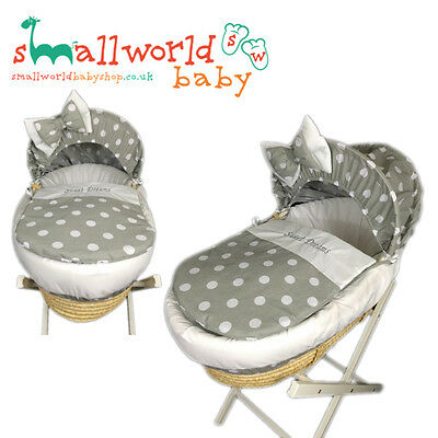Personalised Grey And White Polka Dot Moses Basket Cover Set (NEXT DAY DISPATCH)