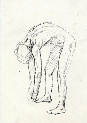 Barbara Dorf - Mid 20th Century Pen and Ink Drawing, Study of a Male Nude