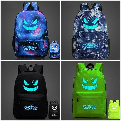 Noctilucence Pokemon Go Gengar Galaxy Backpack Rucksack Laptop Travel School Bag