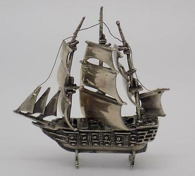 40g Vintage Sterling Silver 925 Sailing Ship Miniature - Stamped - Made in Italy