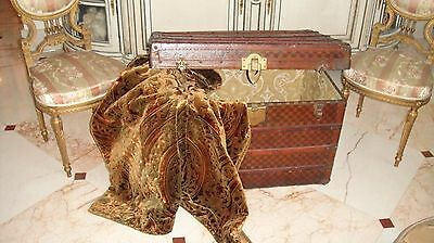 "Antique French Moynat Steamer ""damier Effect"" Trunk Suitcase Beautifully Lined"