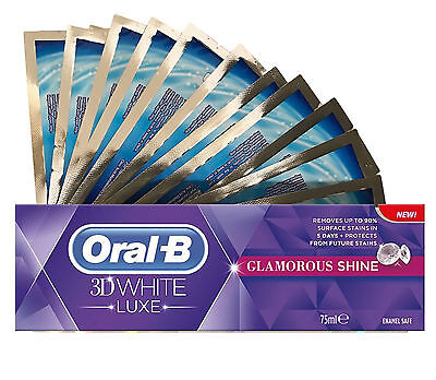 28 Teeth Whitening White Strips + Oral B 3D Glamorous Shine Whitening Toothpaste