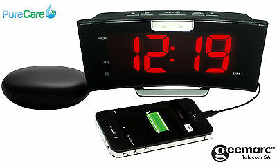 NEW Geemarc Wake 'N' Shake Curve Alarm Clock with Shaker USB Backlight Snooze