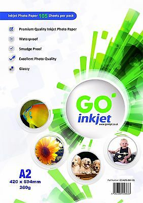 100 Sheets A2 260gsm Glossy Photo Paper + Extra 5 Sheets Per Pack by GO Inkjet