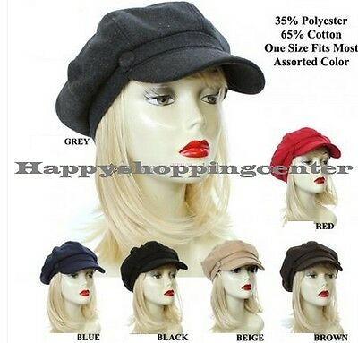 Women Men Fashion Ivy Newsboy Panel Cabbie Cap Golf Hat Multiple Solid Color