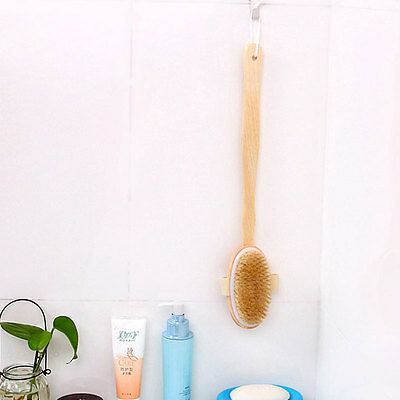 Long Wooden Handle Body Bath Brush Massager Shower Back Clean Spa Scrubber