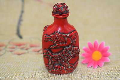 Antique China master Hand carved crane lotus snuff bottle