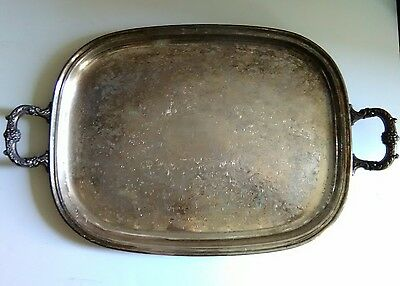 Large Vintage Decorative Hanson Silverplated Serving Platter/Tray