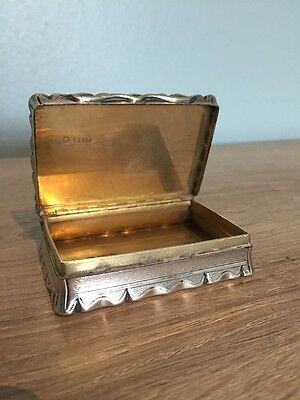 Excellent Condition Early Antique Solid Silver Victorian Snuff Box, Birm 1850.