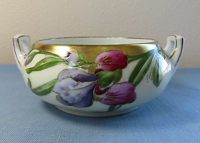 Small Handled Bowl Signed Hand Painted Iris Bavarian China Porcelain Candy Dish