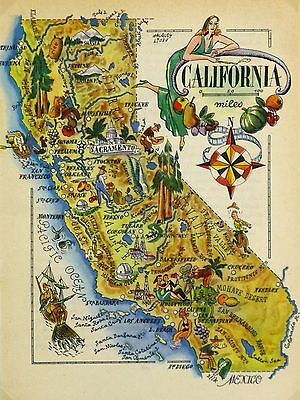 California Antique Vintage Pictorial Map