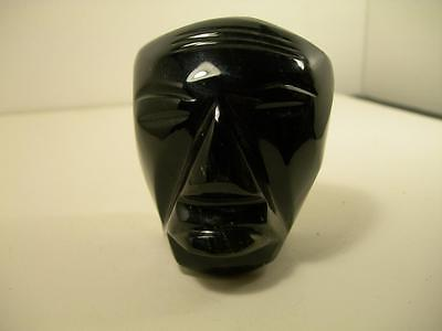 Carved Obsidian Statue Mayan Aztec Bust Head Figurine