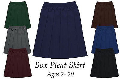 14eb5cd2c9 Girls All Round Box Pleat School Uniform Skirt Fully Elasticated Waist 2-20  Year