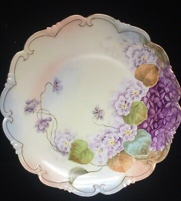 "Antique 8-1/2"" Vienna Austria Hand Painted Burnished Gold Plate Artist Signed(UU"