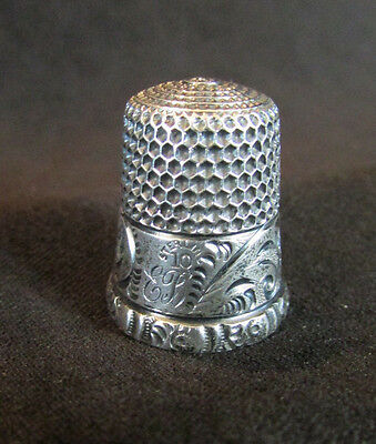 Beautiful Antique Victorian Monogrammed Sterling Silver Thimble