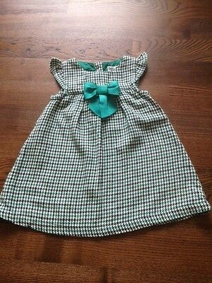 Baby girl's green/white 100% cotton houndstooth print Beebay dress, 6-12 months