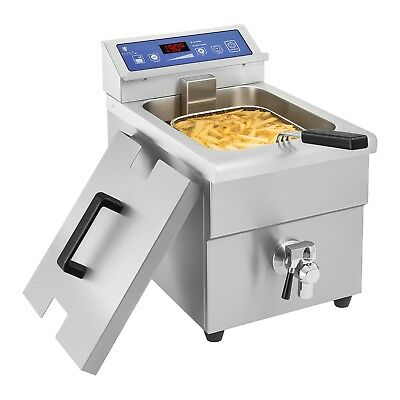 Induction Deep Fat Fryer Induction Technology 10L Timer Led Display Drain Tap
