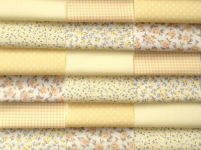 """Fabric patchwork squares 30 x 4"""" 10cm cotton quilting craft yellow Floral  6A"""