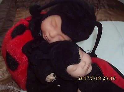 "Anne Geddes Ladybird Sleeping Baby Bean Filled Dolls x 2, 13"" & 9"" BABY DOLLS."