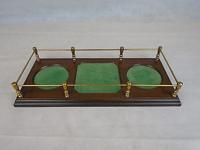 Vintage Crystal Decanter Wood and Felt Tray
