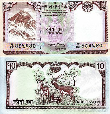 NEPAL 10 Rupees Banknote World Paper Money aUNC/XF Currency Pick p-61a Deer