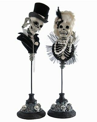 Katherine's Collection Set Of 2 Halloween Family Portrait Skull Busts On Stands