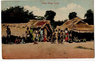 CEYLON, JUNGLE VILLAGE SCENE ~ AN OLD POSTCARD POSTED IN 1912 7a45