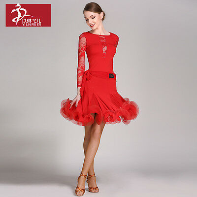 NEW Latin salsa tango rumba Cha cha Ballroom Dance Dress Top /& Skirt#CB023