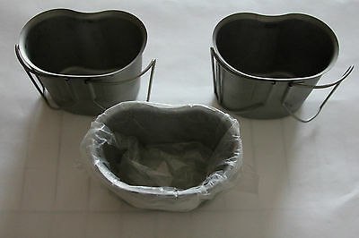 3 U.S. Army Stainless Steel Canteen Cups (1 New, 2 Used)