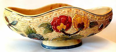 H J WOOD ENGLAND INDIAN TREE HANDPAINTED FLOWER FRUIT BOWL LARGE at 32cm