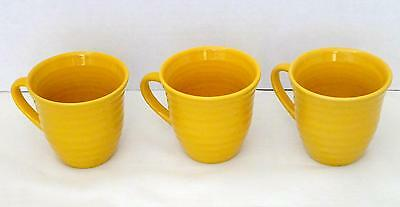 Set of 3 HOME TRENDS Yellow Gold Embossed Rings Coffee Tea Cups or Mugs EUC